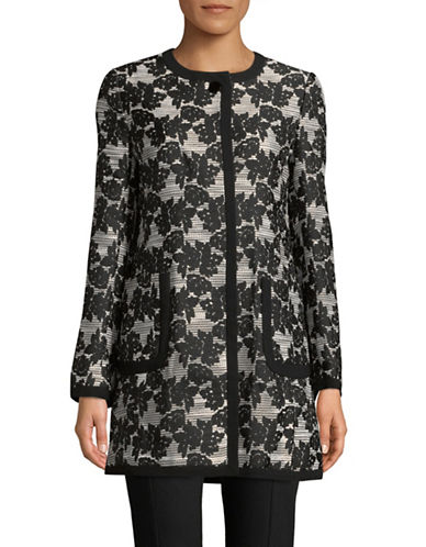 Karl Lagerfeld Paris Jacquard Rose Topper Jacket-BLACK-6
