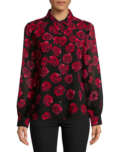 Karl Lagerfeld Paris Floral Button-Down Shirt-CRIMSON-Small