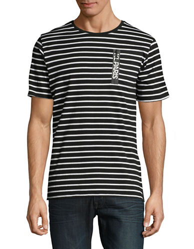 Karl Lagerfeld Stripe Short-Sleeve Cotton T-Shirt-BLACK/WHITE-XX-Large 89866854_BLACK/WHITE_XX-Large