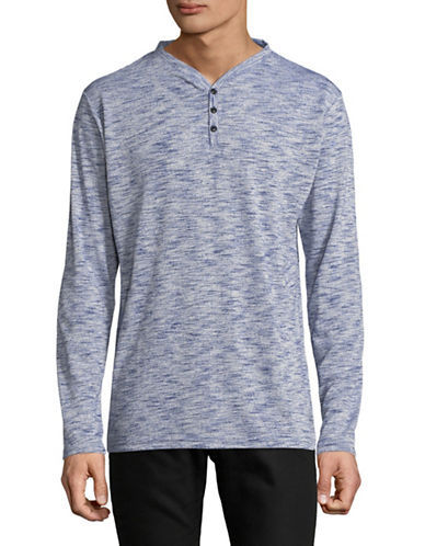 Karl Lagerfeld Marled Long-Sleeve Henley-PURPLE-X-Large
