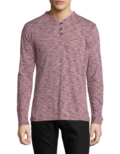 Karl Lagerfeld Marled Long-Sleeve Henley-RED-Medium