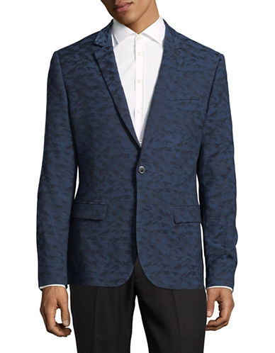 Karl Lagerfeld Camo Blazer-BLUE-Medium