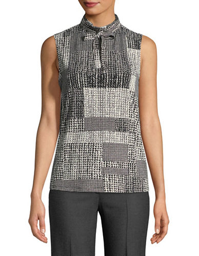 Karl Lagerfeld Paris Tie Neck Knit Top-BLACK-X-Large