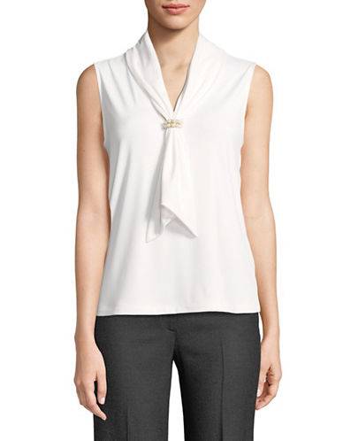 Karl Lagerfeld Paris Embellished Sleeveless Top-WHITE-Medium