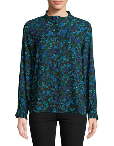 Karl Lagerfeld Paris Ruffle-Trim Blouse-BLUE-Large