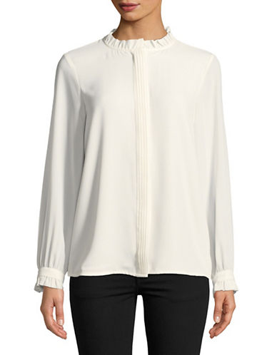 Karl Lagerfeld Paris Ruffle-Trim Blouse-WHITE-Small