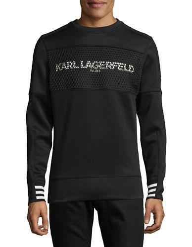 Karl Lagerfeld Logo Quilted Back Sweatshirt-BLACK-X-Large 89719163_BLACK_X-Large