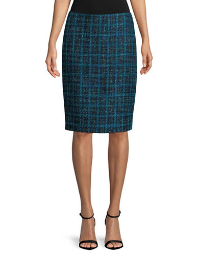 Karl Lagerfeld Paris Multi-Tweed Pencil Skirt-BLUE-4