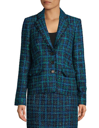Karl Lagerfeld Paris Multi-Tweed Button-Front Jacket-BLUE-14
