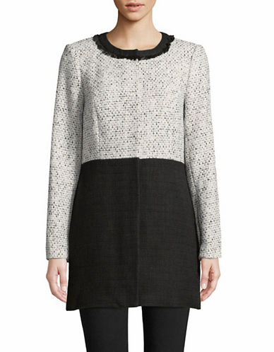 Karl Lagerfeld Paris Colourblock Tweed Jacket-WHITE-14