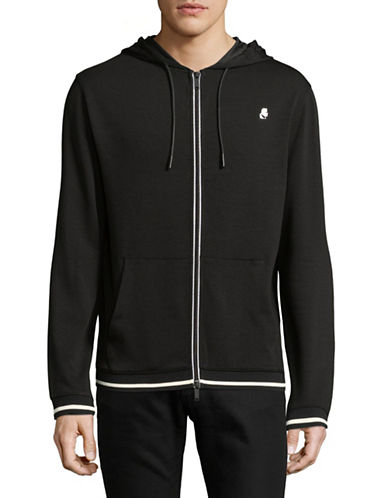 Karl Lagerfeld Full-Zip Logo Jacket-BLACK-Medium