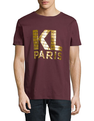 Karl Lagerfeld Logo Foil Printed Tee-RED-Large
