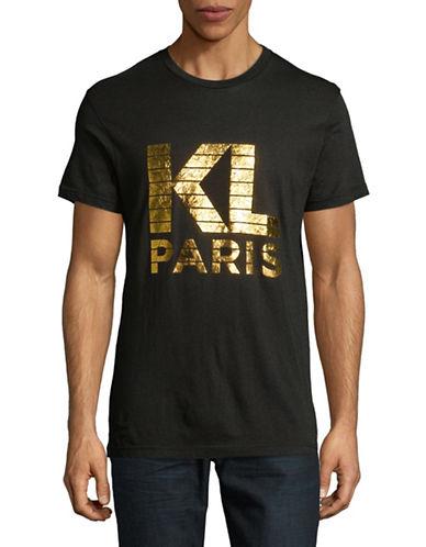 Karl Lagerfeld Logo Foil Printed Tee-BLACK-XX-Large