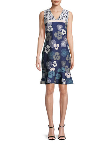 Karl Lagerfeld Paris Sleeveless Jacquard Sheath Dress-NAVY-12
