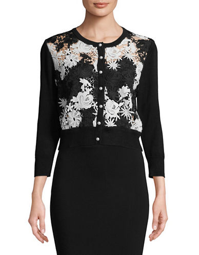 Karl Lagerfeld Paris Lace Shrug Cardigan-BLACK-X-Large