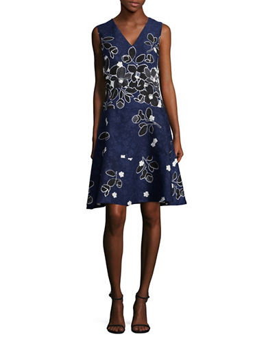 Karl Lagerfeld Paris Jacquard Fit-and-Flare Dress-BLUE-10