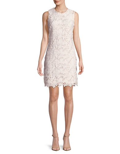 Karl Lagerfeld Paris Floral Lace Sheath Dress-WHITE-10