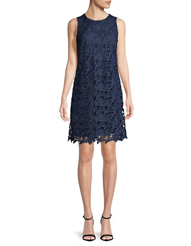 Karl Lagerfeld Paris Floral Lace Sheath Dress-BLUE-8