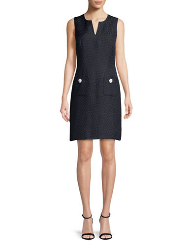 Karl Lagerfeld Paris Houndstooth Jacquard Sheath Dress-NAVY-2