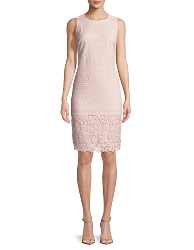 Karl Lagerfeld Paris Sleeveless Lace Sheath Dress-PINK-6