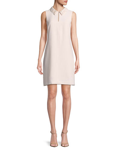 Karl Lagerfeld Paris Faux Pearl-Trimmed Sleeveless Dress-ROSE-12