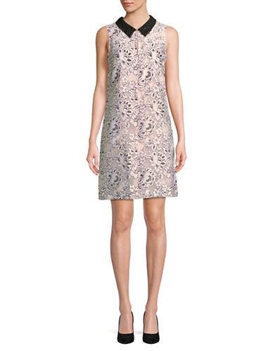 Karl Lagerfeld Paris Beaded Collar Sleeveless Dress-IVORY-2