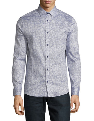 Karl Lagerfeld Abstract Floral-Print Sport Shirt-BLUE-Small