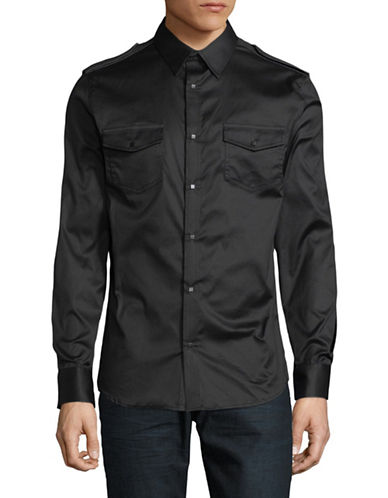 Karl Lagerfeld Military Snap Front Sport Shirt-BLACK-Small