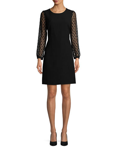 Karl Lagerfeld Paris Dotted Sleeve Sheath Dress-BLACK-2