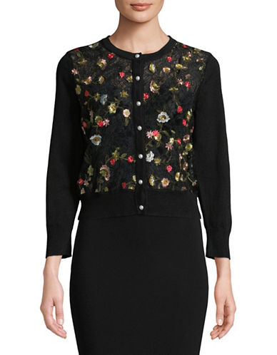 Karl Lagerfeld Paris Embroidered Lace Shrug Cardigan-BLACK-Small