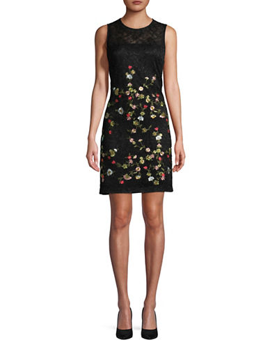 Karl Lagerfeld Paris Embroidered Lace Sheath Dress-MULTI-2