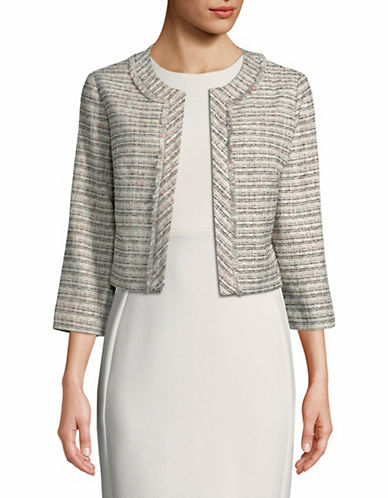 Karl Lagerfeld Paris Tweed Crop Jacket-PINK-Small