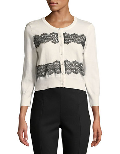Karl Lagerfeld Paris Lace Applique Shrug Cardigan-IVORY-Large
