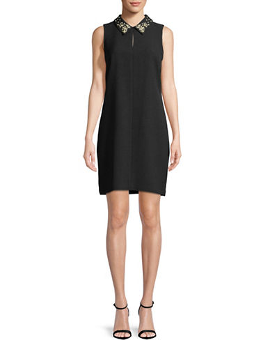 Karl Lagerfeld Paris Faux Pearl-Trimmed Sleeveless Dress-BLACK-10
