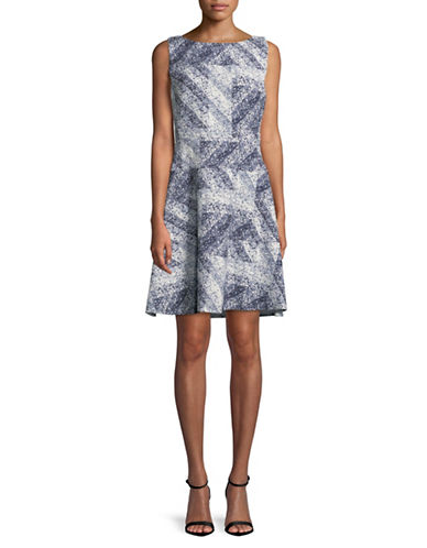 Karl Lagerfeld Paris Printed Fit-and-Flare Dress-MULTI-8