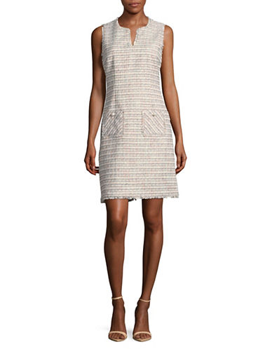 Karl Lagerfeld Paris Sleeveless Tweed Sheath Dress-MULTI-14