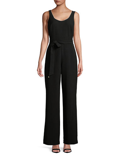 Karl Lagerfeld Paris Sleeveless Pearl Trim Jumpsuit-BLACK-12
