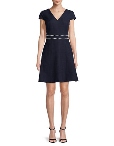 Karl Lagerfeld Paris Embellished V-Neck Fit-and-Flare Dress-BLUE-4