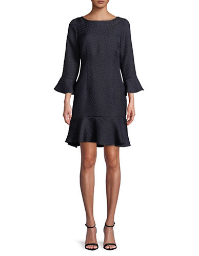 Karl Lagerfeld Paris Bell-Sleeve Fit-and-Flare Dress-BLUE-4