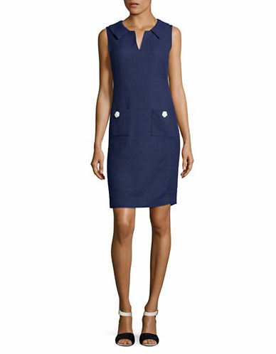 Karl Lagerfeld Paris Sleeveless Tweed Collared Sheath Dress-NAVY-6