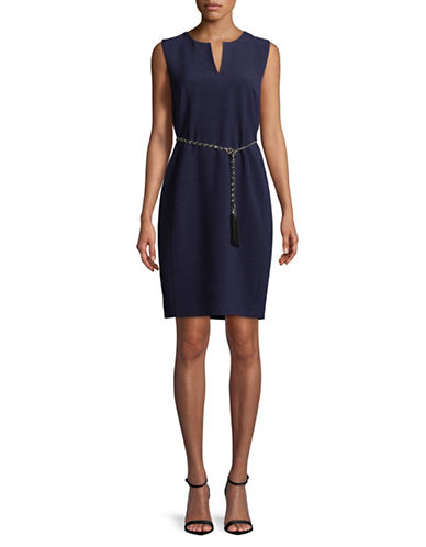 Karl Lagerfeld Paris Belted Sheath Dress-BLUE-8