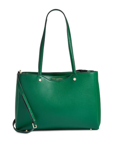 Karl Lagerfeld Paris Dorine Leather Tote-GREEN-One Size