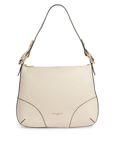 Karl Lagerfeld Paris Bangle Leather Hobo Bag-BEIGE-One Size