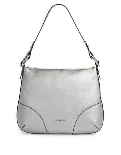 Karl Lagerfeld Paris Bangle Leather Hobo Bag-SILVER-One Size