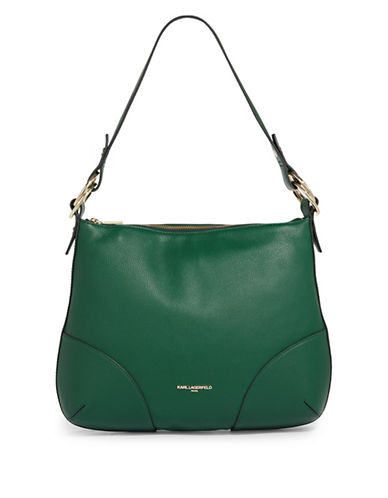 Karl Lagerfeld Paris Bangle Leather Hobo Bag-GREEN-One Size