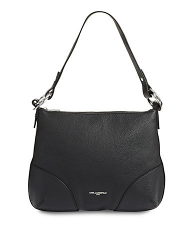 Karl Lagerfeld Paris Bangle Leather Hobo Bag-BLACK-One Size