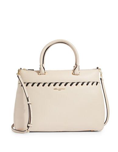 Karl Lagerfeld Paris Wyona Leather Satchel-BEIGE-One Size