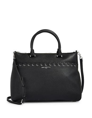 Karl Lagerfeld Paris Wyona Leather Satchel-BLACK-One Size