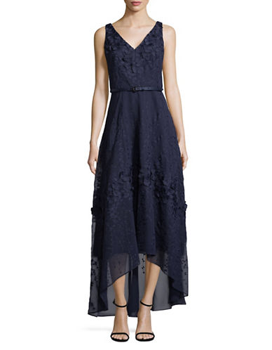 Karl Lagerfeld Paris Sleeveless Lace V-neck Gown-NAVY-12