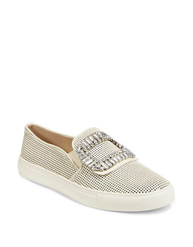 Karl Lagerfeld Paris Slip-On Embellished Sneakers-OFF WHITE-5